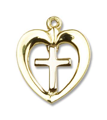 Heart and Cross Pendant 14kt Gold - 14K Solid Gold