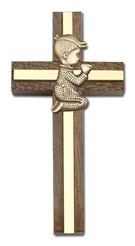 "Praying Boy Cross in Walnut 4"" with Metal Inlay - Gold Tone"