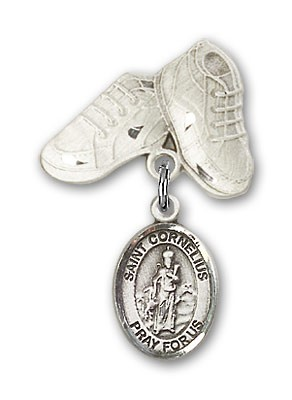 Pin Badge with St. Cornelius Charm and Baby Boots Pin - Silver tone