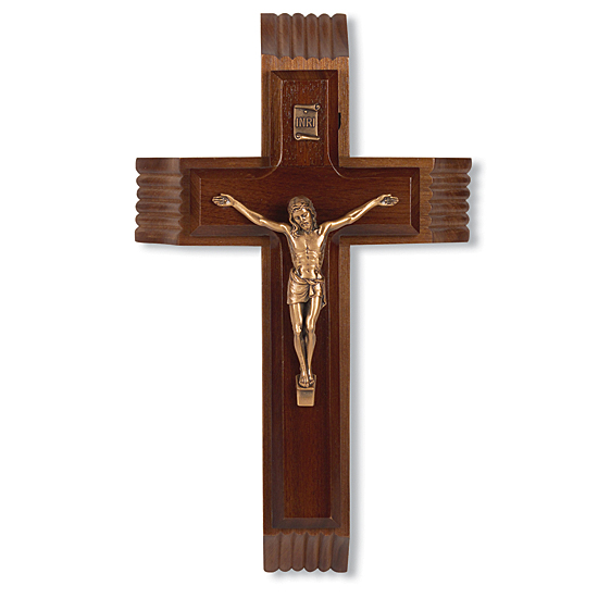Walnut Sick Call Crucifix Set - 10 inch - Brown