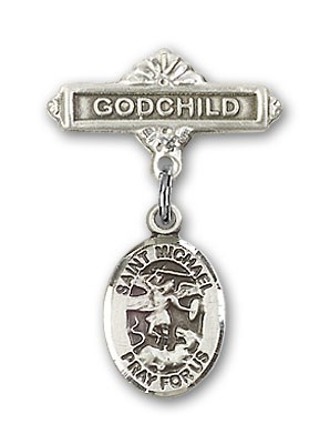 Pin Badge with St. Michael the Archangel Charm and Godchild Badge Pin - Silver tone