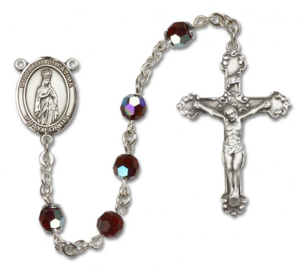 Our Lady of Fatima Sterling Silver Heirloom Rosary Fancy Crucifix - Garnet
