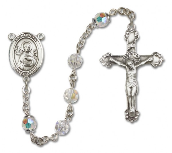 St. John the Apostle Sterling Silver Heirloom Rosary Fancy Crucifix - Crystal