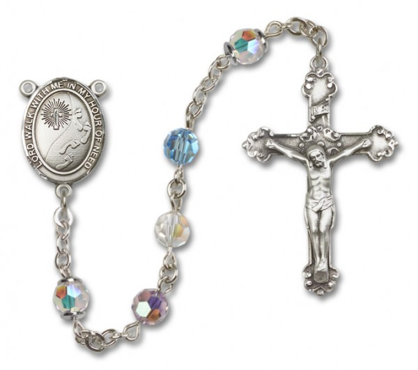 Footprints Cross Sterling Silver Heirloom Rosary Fancy Crucifix - Multi-Color