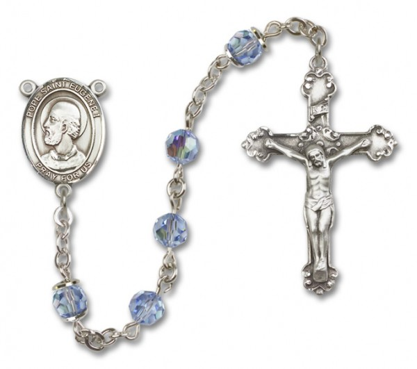 Pope Saint Eugene I Sterling Silver Heirloom Rosary Fancy Crucifix - Light Sapphire