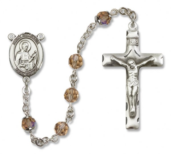 St. Camillus of Lellis Sterling Silver Heirloom Rosary Squared Crucifix - Topaz