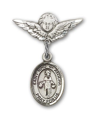 Pin Badge with St. Nino de Atocha Charm and Angel with Smaller Wings Badge Pin - Silver tone