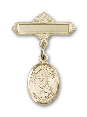 Pin Badge with St. Margaret Mary Alacoque Charm and Polished Engravable Badge Pin - 14K Solid Gold
