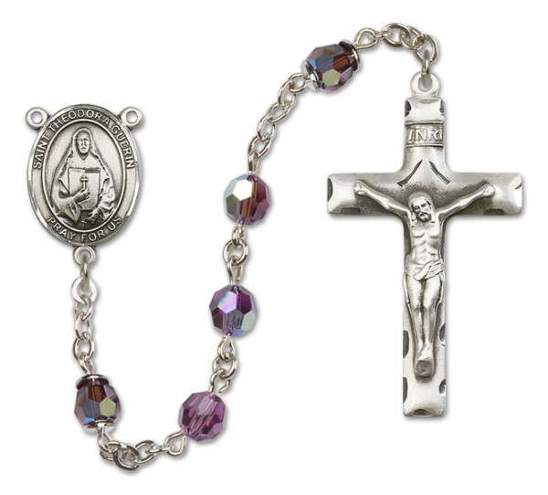 St. Theodora Guerin Sterling Silver Heirloom Rosary Squared Crucifix - Amethyst