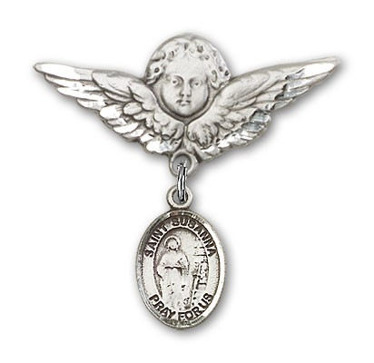Pin Badge with St. Susanna Charm and Angel with Larger Wings Badge Pin - Silver tone