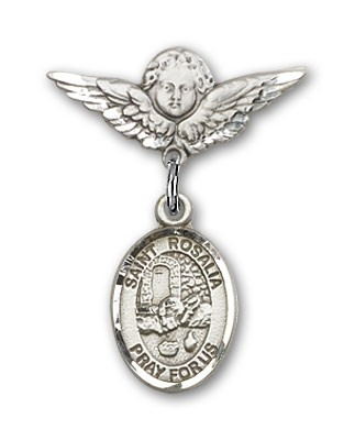 Pin Badge with St. Rosalia Charm and Angel with Smaller Wings Badge Pin - Silver tone
