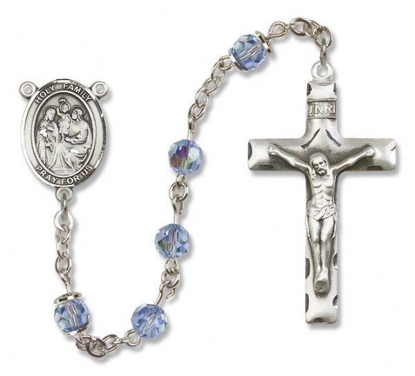 Holy Family Rosary Heirloom Squared Crucifix - Light Sapphire