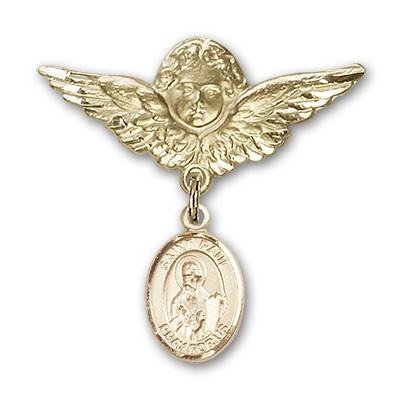 Pin Badge with St. Paul the Apostle Charm and Angel with Larger Wings Badge Pin - 14K Solid Gold