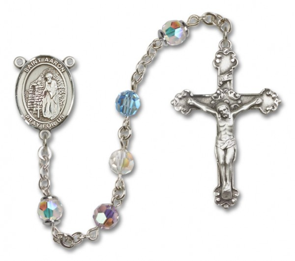 St. Aaron Sterling Silver Heirloom Rosary Fancy Crucifix - Multi-Color