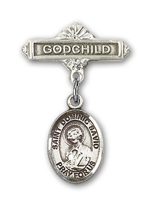 Pin Badge with St. Dominic Savio Charm and Godchild Badge Pin - Silver tone