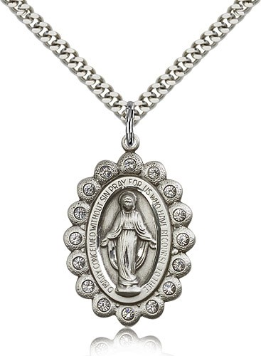 Miraculous Medal Necklace with Clear Swarovski Crystals - Sterling Silver