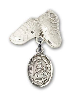 Baby Badge with Our Lady of Loretto Charm and Baby Boots Pin - Silver tone