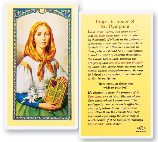 Prayer In Honor of St. Dymphna Laminated Prayer Cards 25 Pack - Full Color
