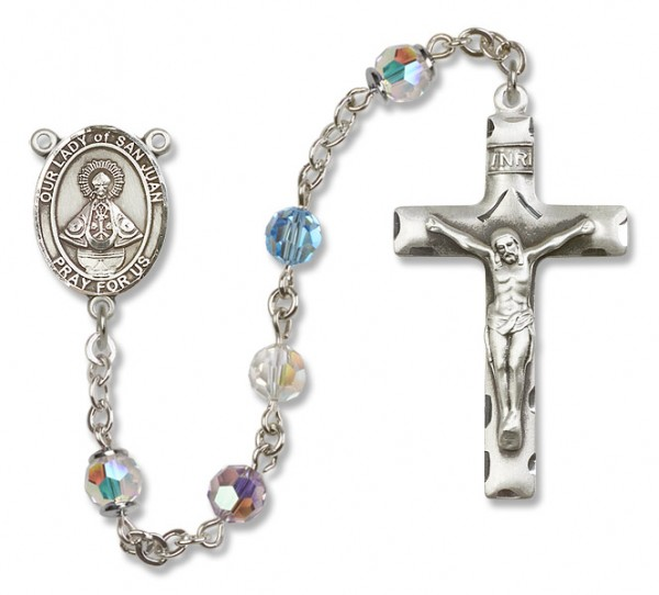 Our Lady of San Juan Rosary Heirloom Squared Crucifix - Multi-Color