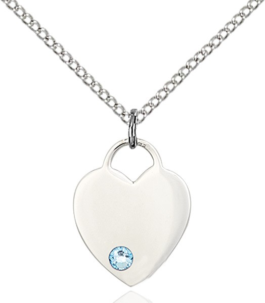 Small Heart Shaped Pendant with Birthstone Options - Aqua