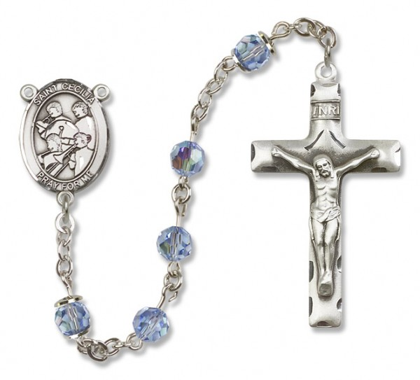 St. Cecilia with Marching Band Sterling Silver Heirloom Rosary Squared Crucifix - Light Sapphire