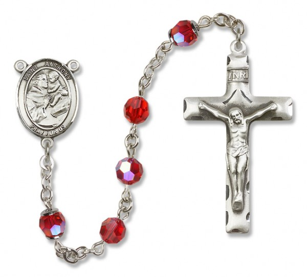 St. Anthony of Padua Sterling Silver Heirloom Rosary Squared Crucifix - Ruby Red