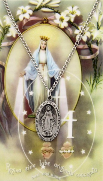 Oval Our Lady of the Miraculous Medal with Prayer Card - Silver tone