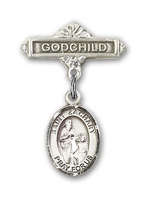 Pin Badge with St. Zachary Charm and Godchild Badge Pin - Silver tone