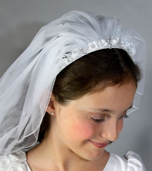 First Communion Flower Headband Veil - White