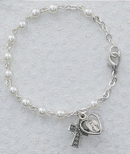 Irish First Communion Faux Pearl Bracelet with Miraculous and Celtic Cross Charm - Pearl White