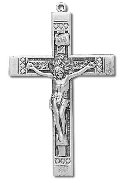 Diamond Accent Tip Sterling Silver Rosary Crucifix - Sterling Silver