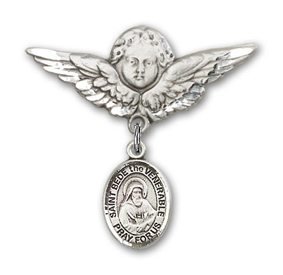 Pin Badge with St. Bede the Venerable Charm and Angel with Larger Wings Badge Pin - Silver tone