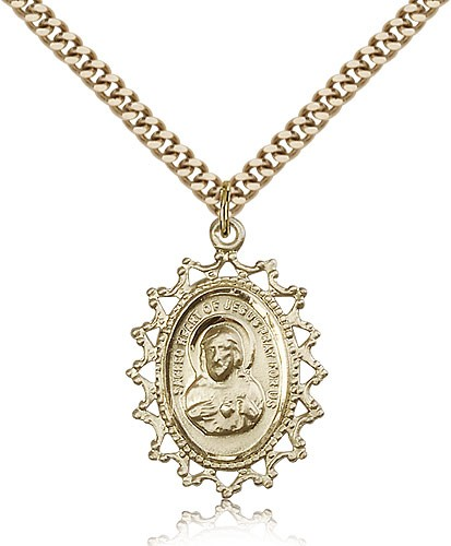 Pointed Tip Scapular Medal Necklace - 14KT Gold Filled