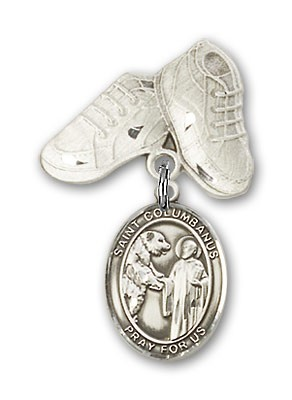 Pin Badge with St. Columbanus Charm and Baby Boots Pin - Silver tone