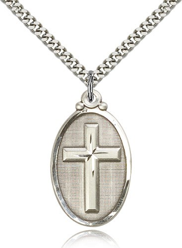 Raised Cross on Oval Pendant - Sterling Silver