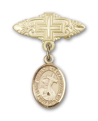 Pin Badge with St. Bernard of Clairvaux Charm and Badge Pin with Cross - 14K Solid Gold