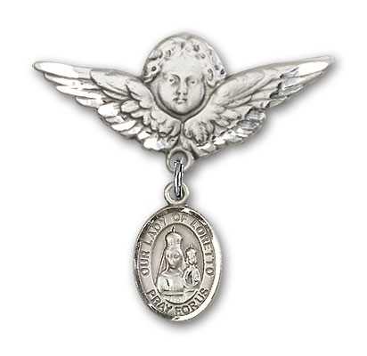 Pin Badge with Our Lady of Loretto Charm and Angel with Larger Wings Badge Pin - Silver tone