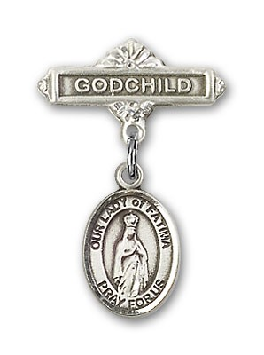 Baby Badge with Our Lady of Fatima Charm and Godchild Badge Pin - Silver tone