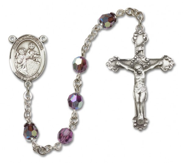 St. Nimatullah Sterling Silver Heirloom Rosary Fancy Crucifix - Amethyst