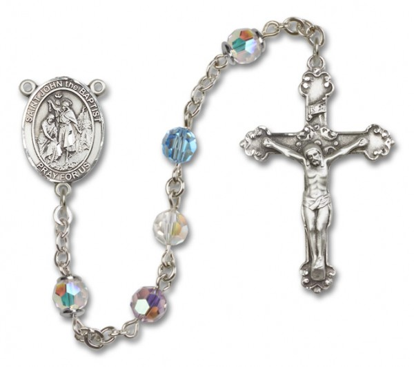 St. John the Baptist Sterling Silver Heirloom Rosary Fancy Crucifix - Multi-Color