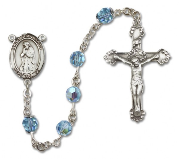 St. Juan Diego Sterling Silver Heirloom Rosary Fancy Crucifix - Aqua