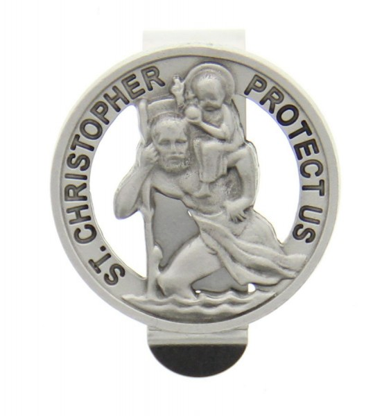 "Round St. Christopher Visor Clip, Pewter - 1 1/2"" dia - Silver"