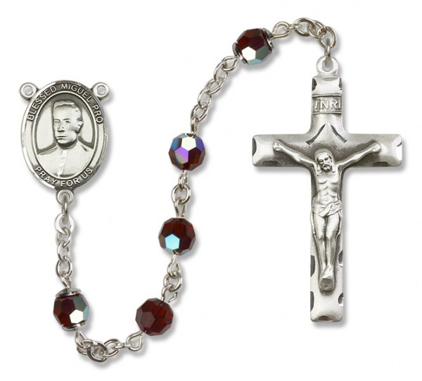 Blessed Miguel Pro Sterling Silver Heirloom Rosary Squared Crucifix - Garnet