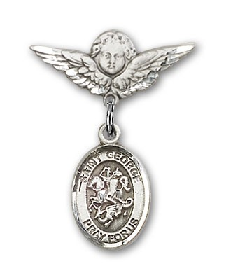 Pin Badge with St. George Charm and Angel with Smaller Wings Badge Pin - Silver tone