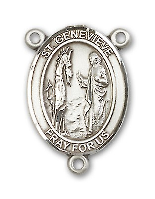 St. Genevieve Rosary Centerpiece Sterling Silver or Pewter - Sterling Silver