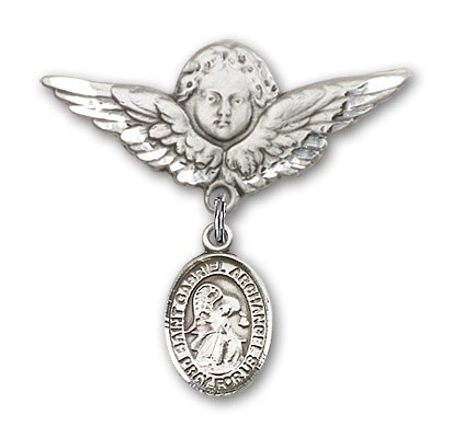 Pin Badge with St. Gabriel the Archangel Charm and Angel with Larger Wings Badge Pin - Silver tone