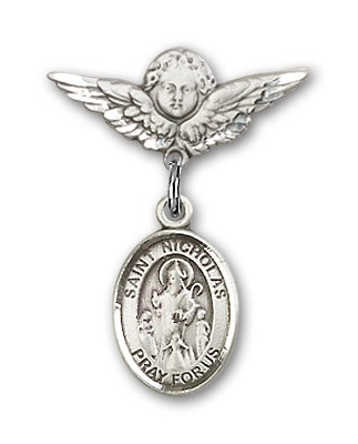 Pin Badge with St. Nicholas Charm and Angel with Smaller Wings Badge Pin - Silver tone