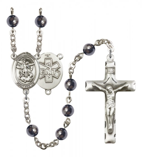Men's St. Michael EMT Silver Plated Rosary - Gray