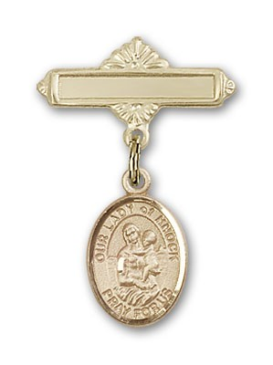 Pin Badge with Our Lady of Knock Charm and Polished Engravable Badge Pin - Gold Tone