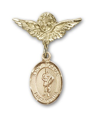 Pin Badge with St. Florian Charm and Angel with Smaller Wings Badge Pin - Gold Tone